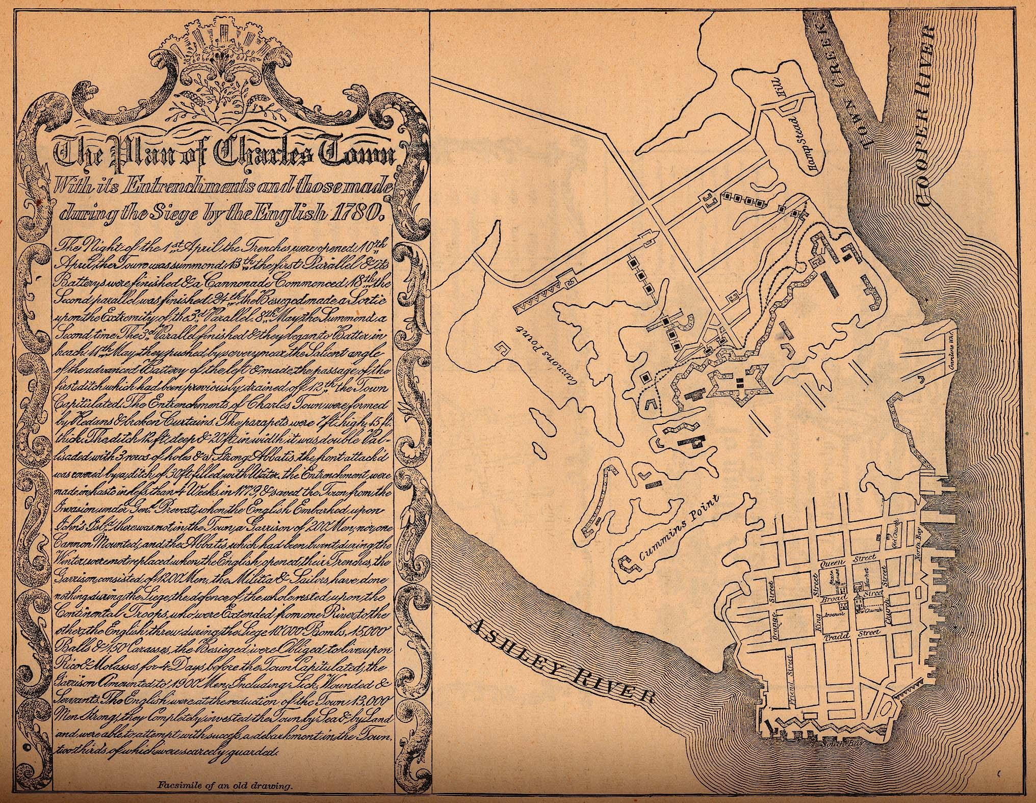 Mapa de la Ciudad de Charleston, Carolina del Sur, Estados Unidos 1780
