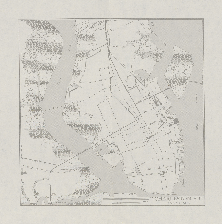 Mapa de la Ciudad de Charleston y Cercanías, Carolina del Sur, Estados Unidos 1946