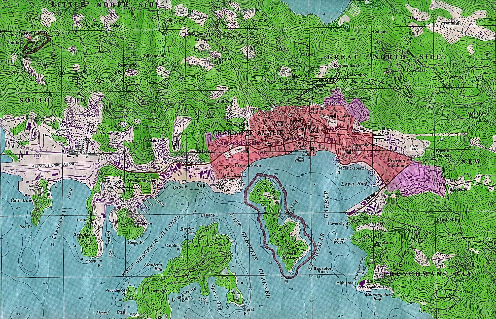 Mapa de la Ciudad de Charlotte Amalie, Islas Vírgenes de los Estados Unidos