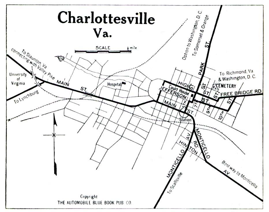 Mapa de la Ciudad de Charlottesville, Virginia, Estados Unidos 1919