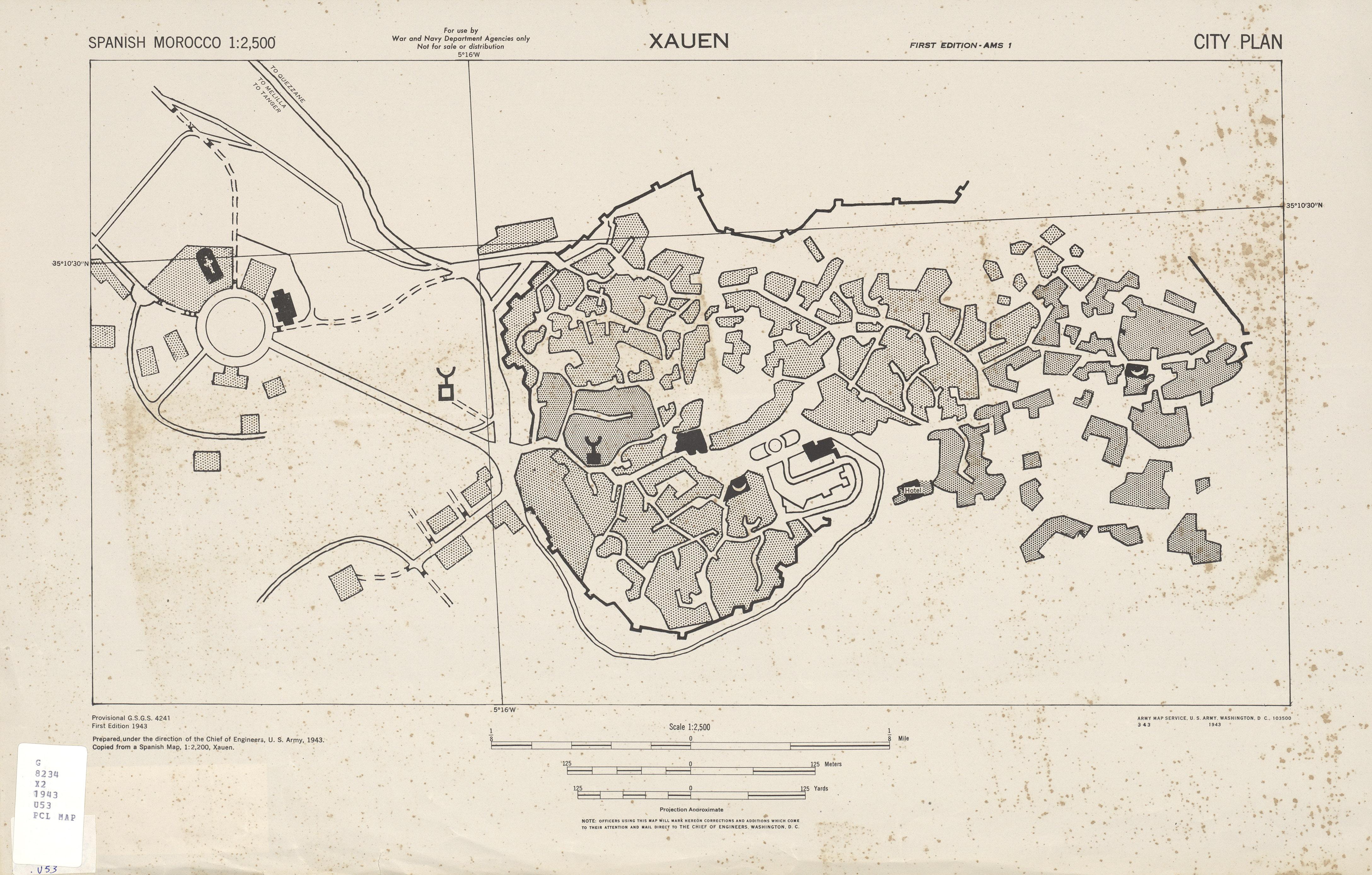 Mapa de la Ciudad de Chauen, Marruecos 1943