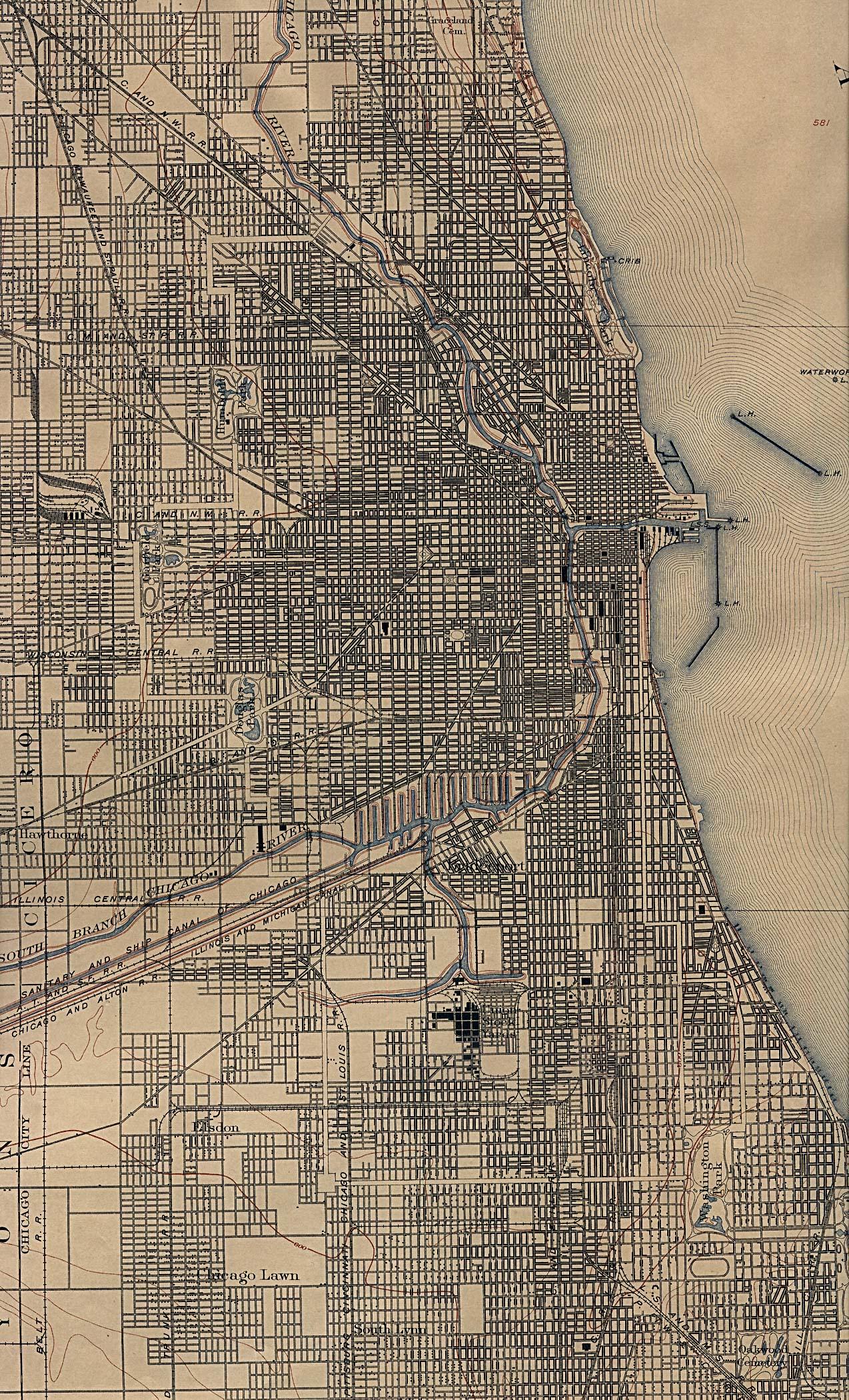 Mapa de la Ciudad de Chicago, Illinois, Estados Unidos 1901