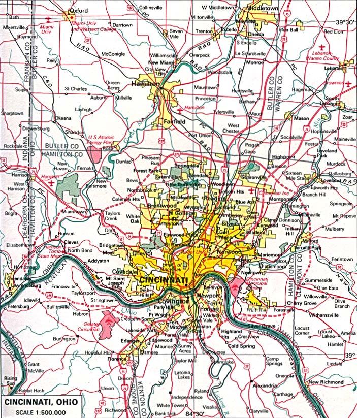 Mapa de la Ciudad de Cincinnati, Ohio, Estados Unidos