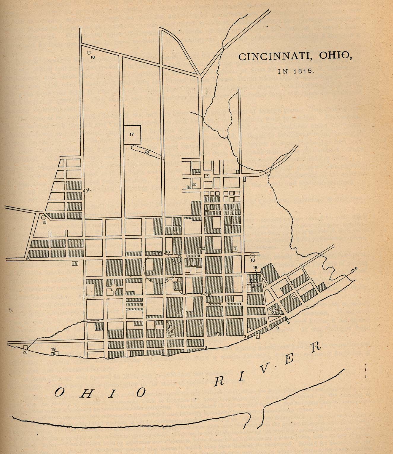 Cincinnati City Map, Ohio, United States 1815