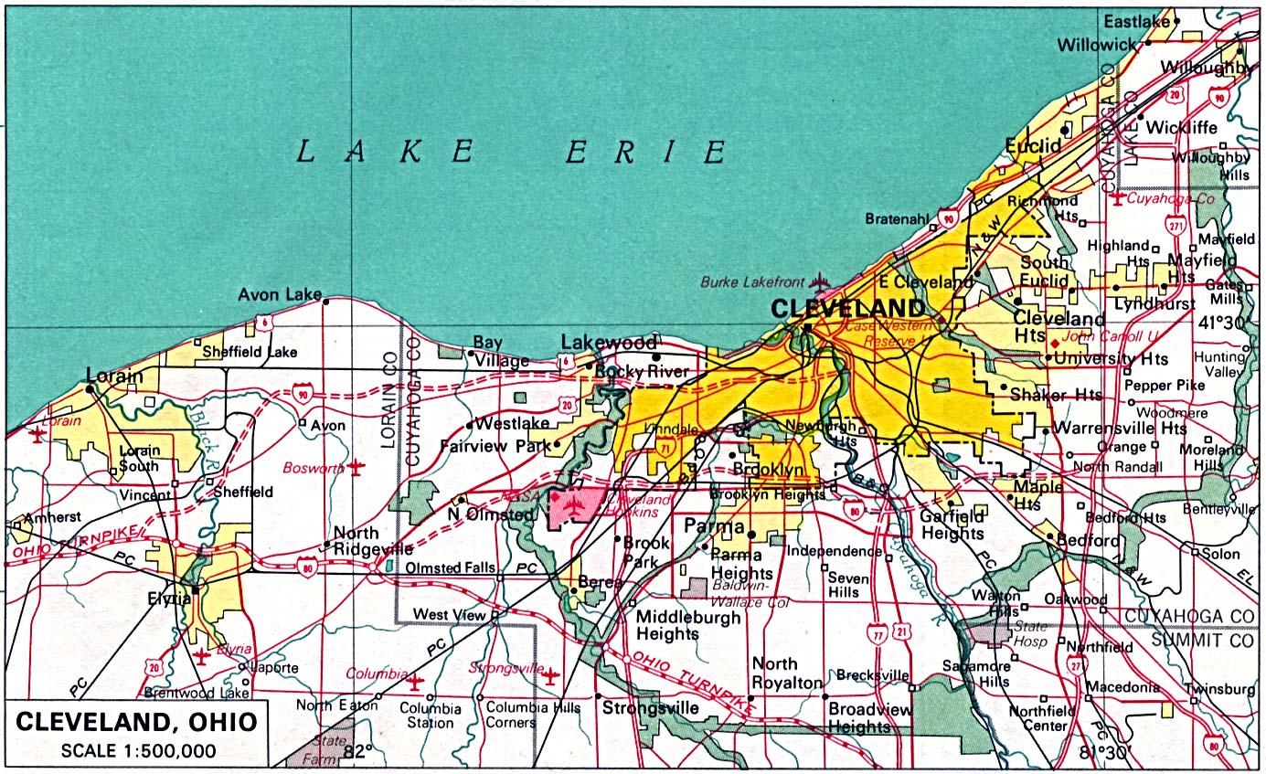 Mapa de la Ciudad de Clevely, Ohio, Estados Unidos
