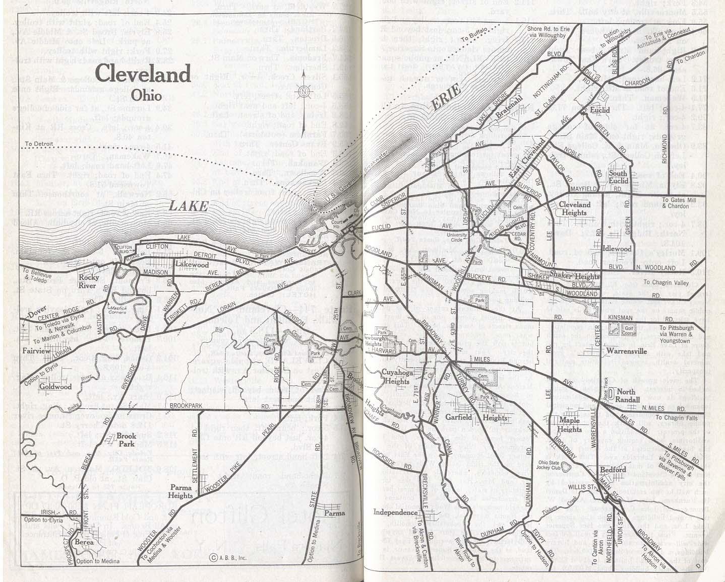 Mapa de la Ciudad de Clevely, Ohio, Estados Unidos 1917