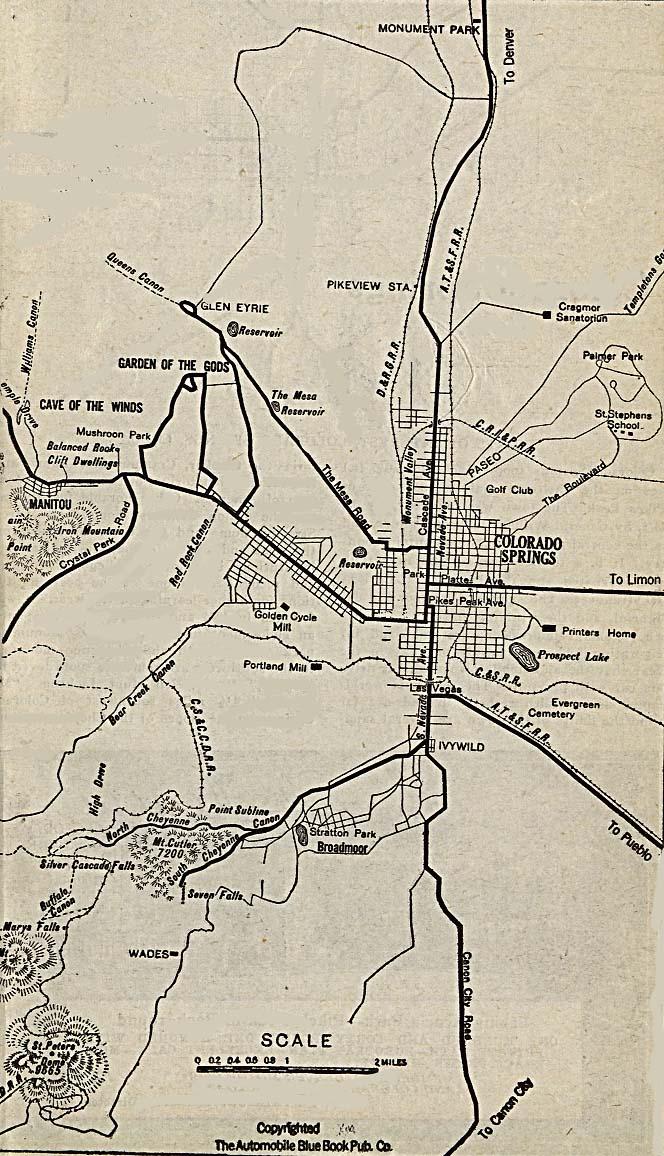 Mapa de la Ciudad de Colorado Springs, Colorado, Estados Unidos 1920