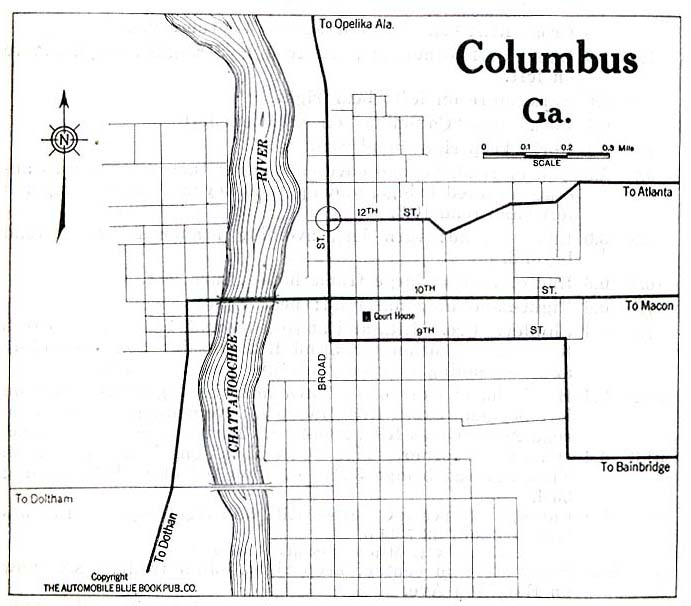 Mapa de la Ciudad de Columbus, Georgia, Estados Unidos 1919