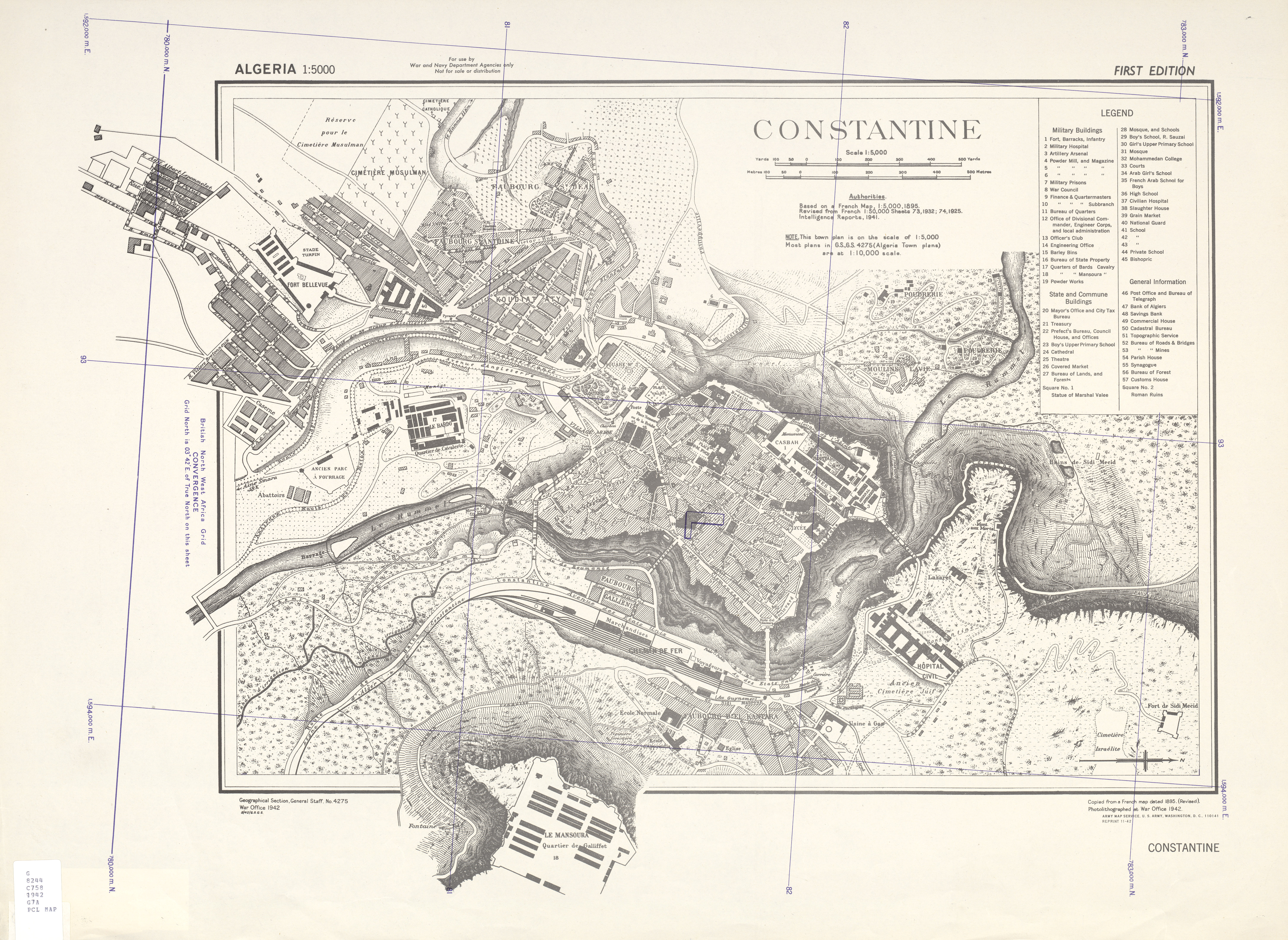 Mapa de la Ciudad de Constantine, Argelia 1942
