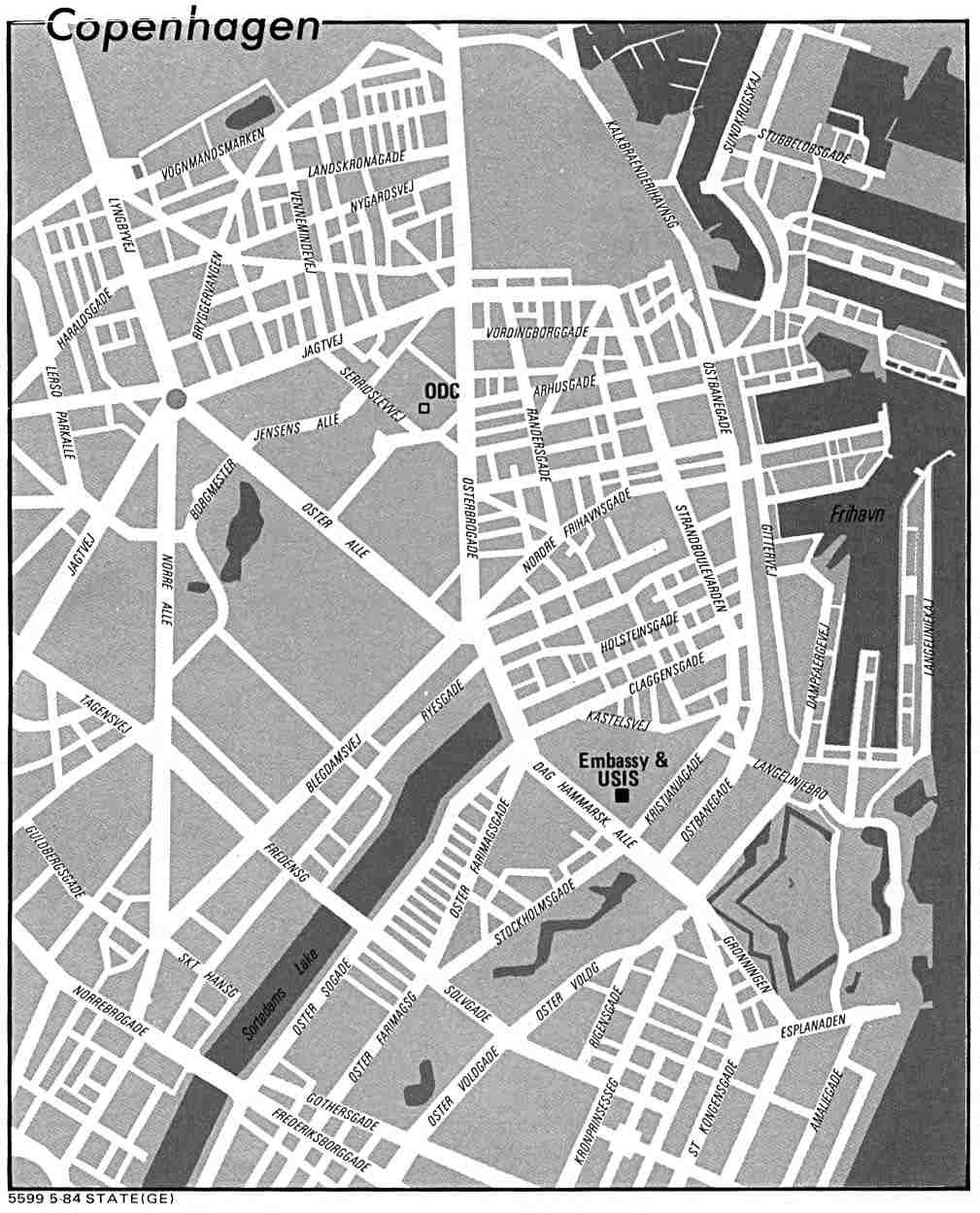 Mapa de la Ciudad de Copenhague, Dinamarca