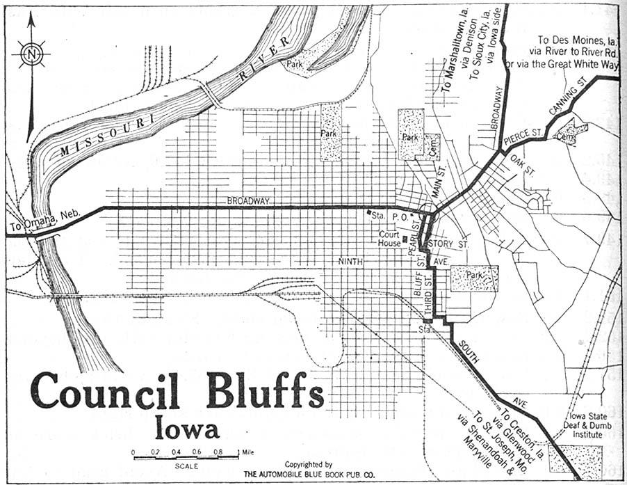 Mapa de la Ciudad de Council Bluffs, Iowa, Estados Unidos 1920