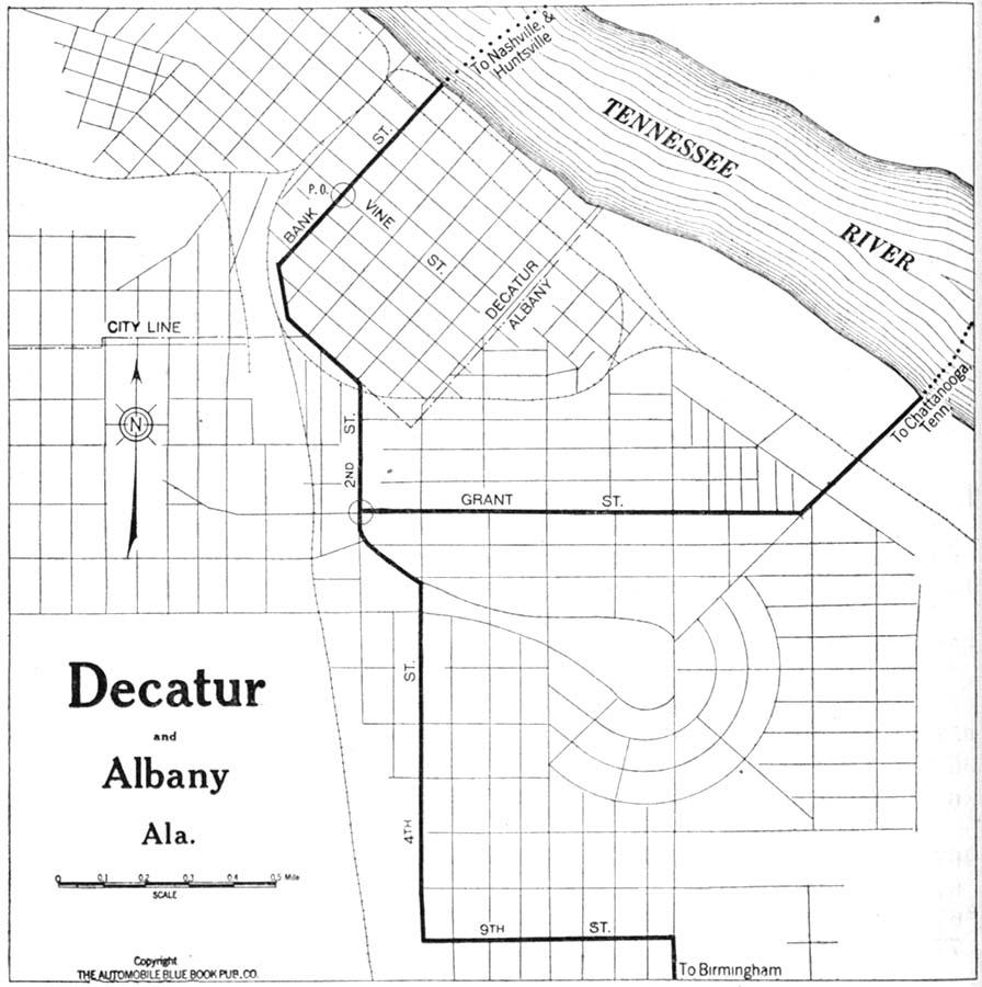 Mapa de la Ciudad de Decatur, Alabama, Estados Unidos 1919