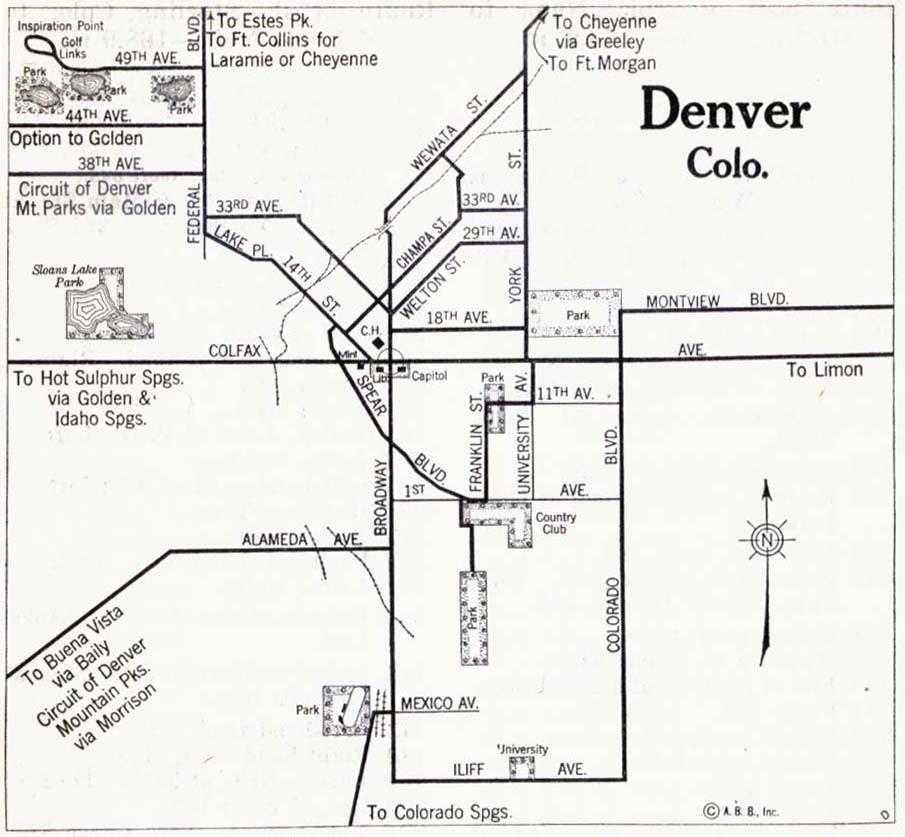 Denver City Map, Colorado, United States 1917