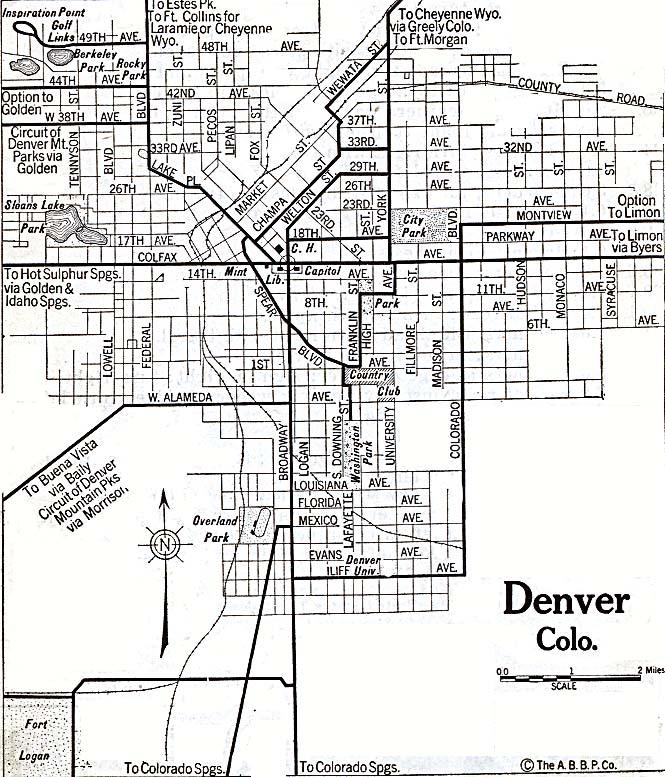 Denver City Map, Colorado, United States 1920