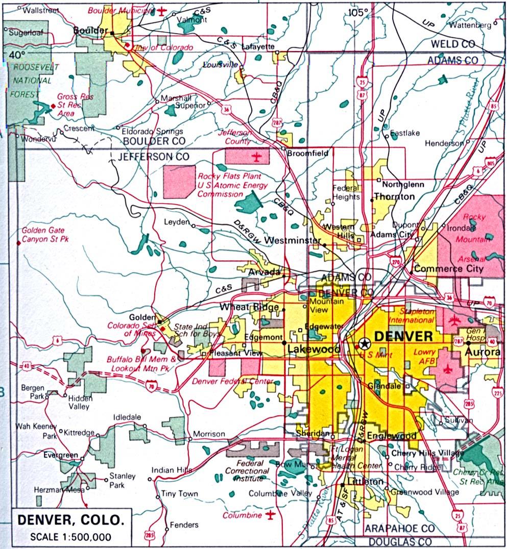 Mapa de la Ciudad de Denver, Colorado, Estados Unidos
