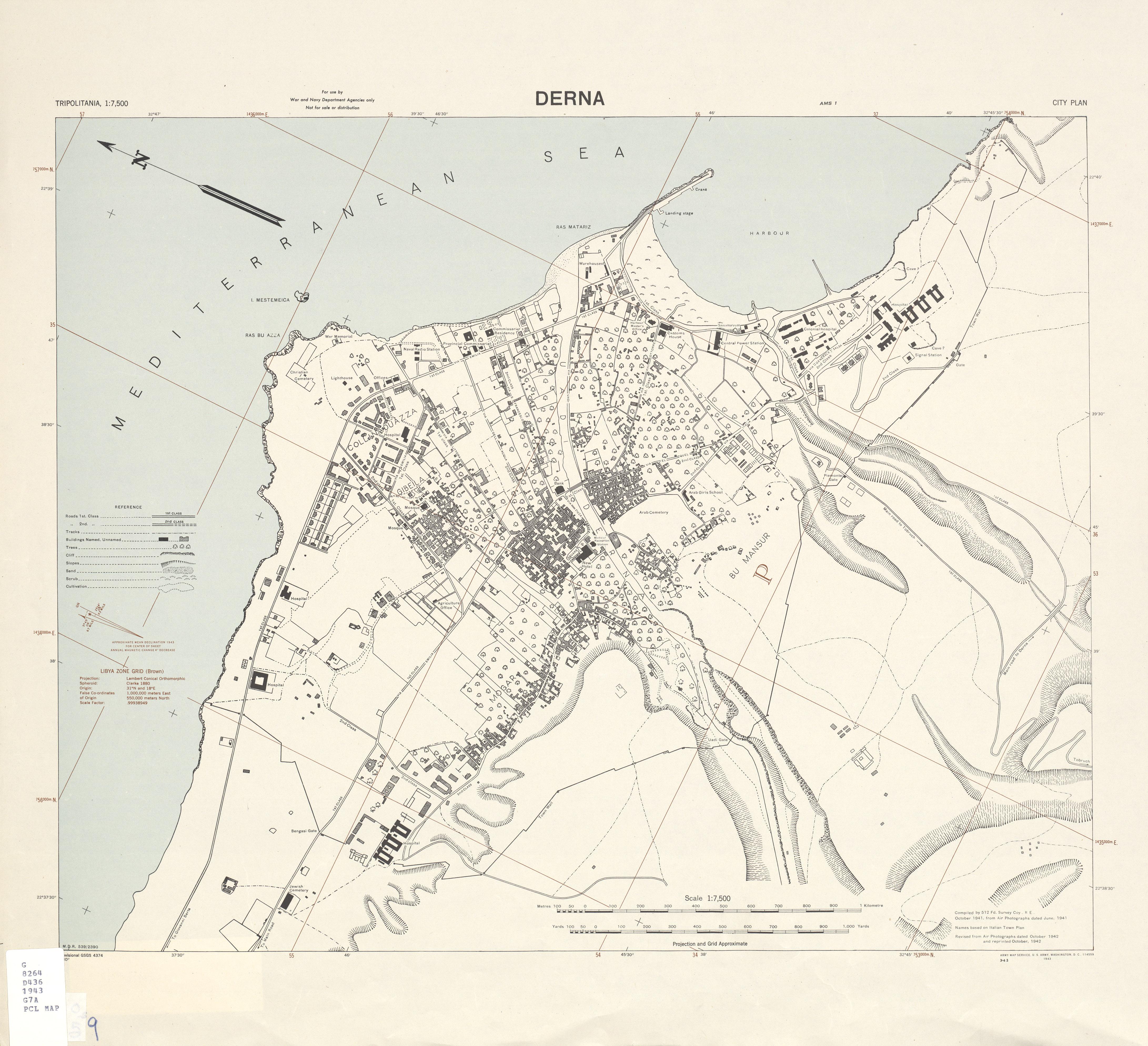 Mapa de la Ciudad de Derna, Libia 1943