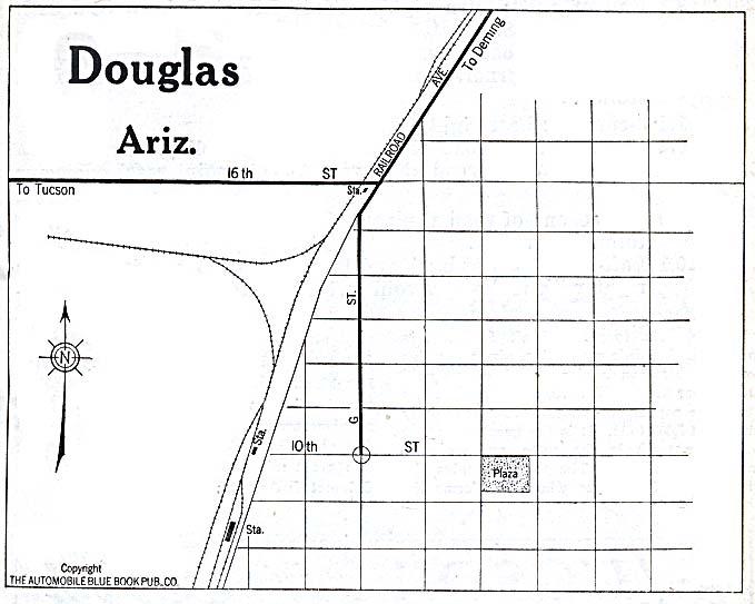 Douglas City Map, Arizona, United States 1920