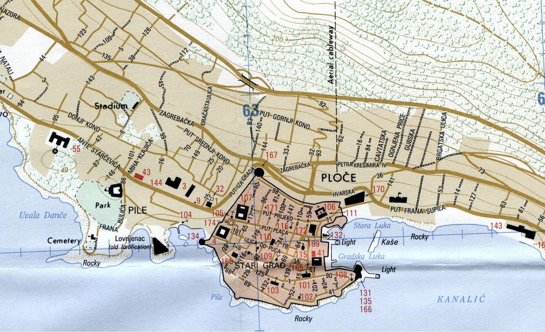 Mapa de la Ciudad de Dubrovnik, Croacia