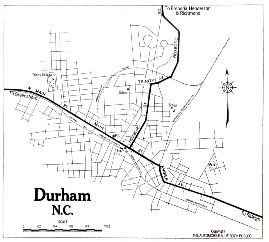 Mapa de la Ciudad de Durham, Carolina del Norte, Estados Unidos 1919