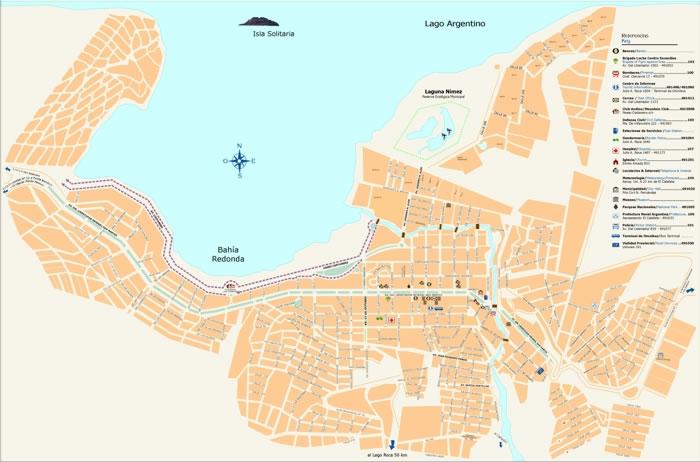 El Calafate City Map, Santa Cruz Prov., Argentina