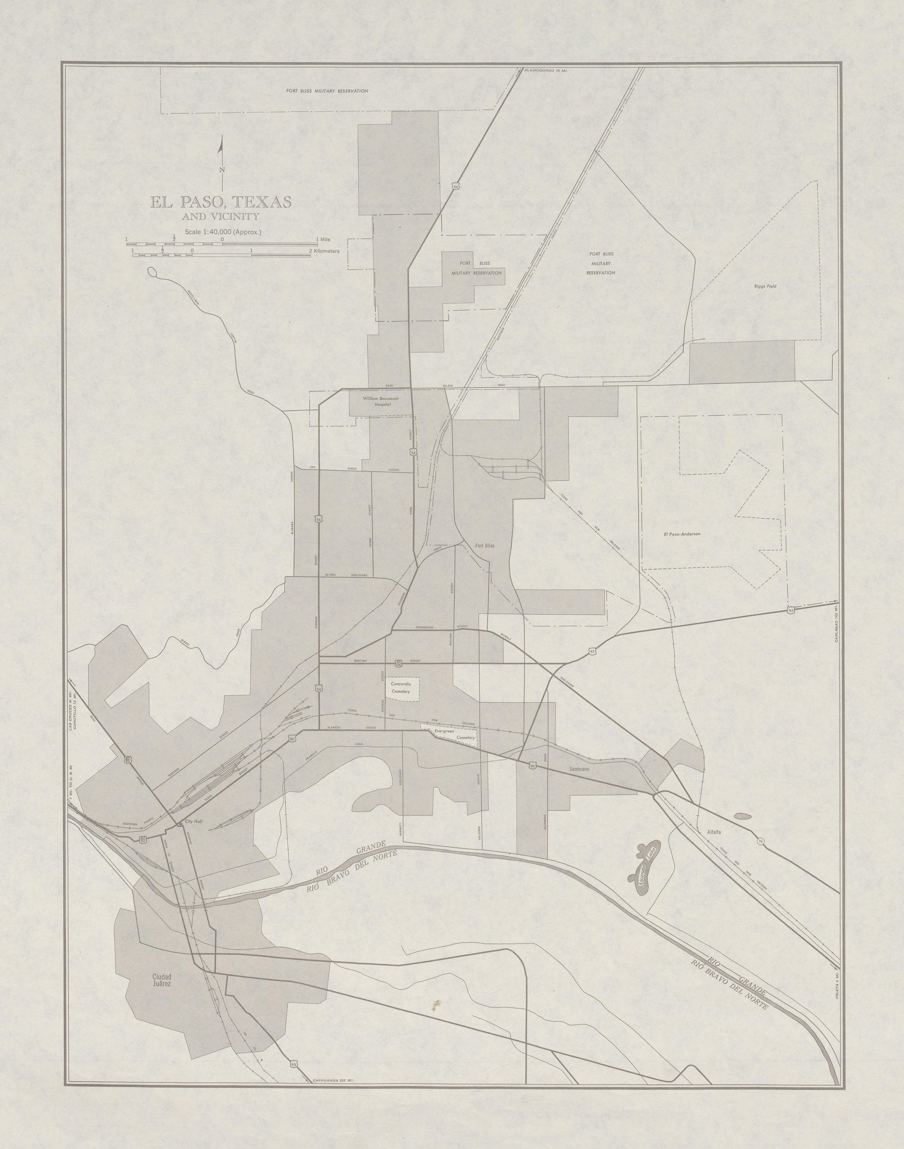 Mapa de la Ciudad de El Paso y Cercanías, Texas, Estados Unidos 1950