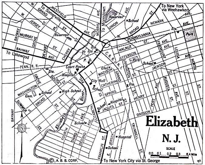 Mapa de la Ciudad de Elizabeth, Nueva Jersey, Estados Unidos 1920