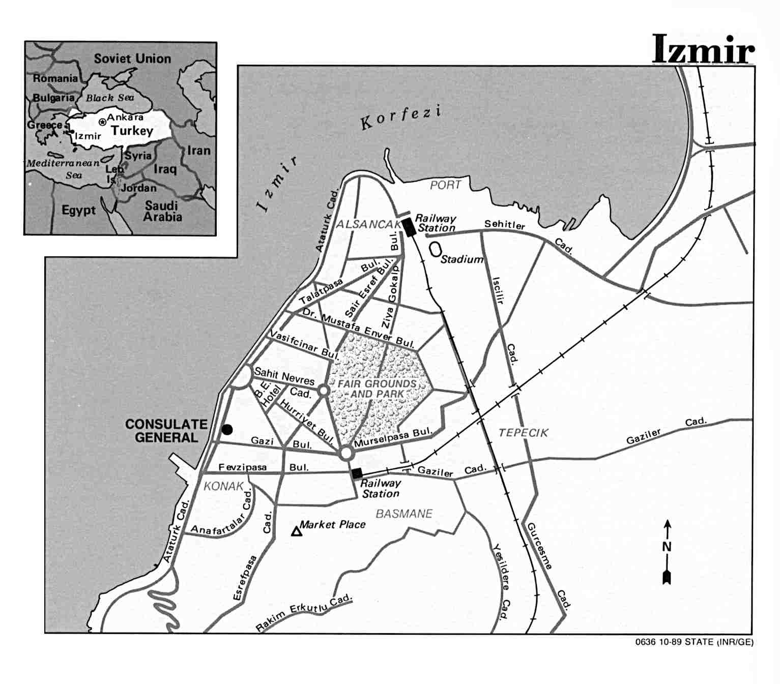 Izmir City Map, Turkey