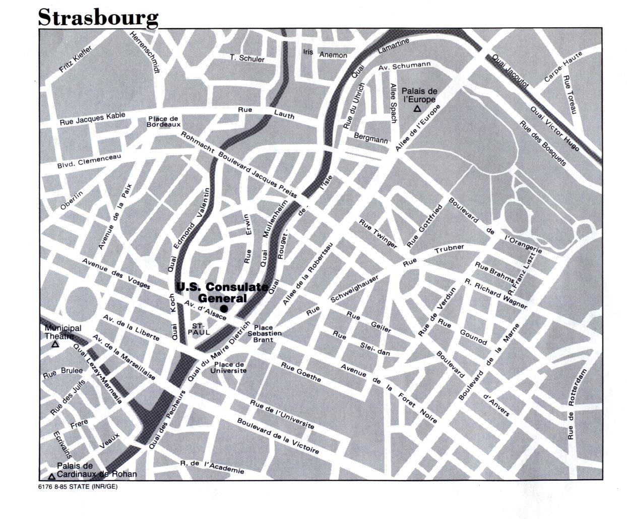 Mapa de la Ciudad de Estrasburgo, Francia