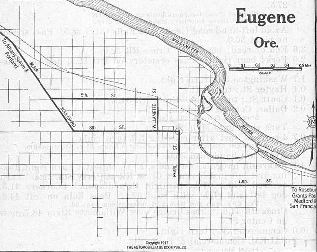 Mapa de la Ciudad de Eugene, Oregón, Estados Unidos 1917