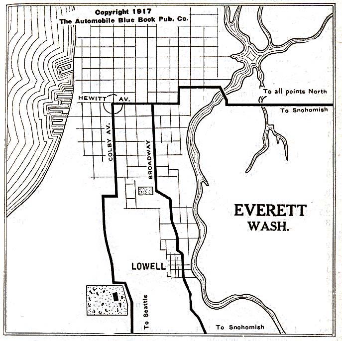 Mapa de la Ciudad de Everett, Washington, Estados Unidos 1917