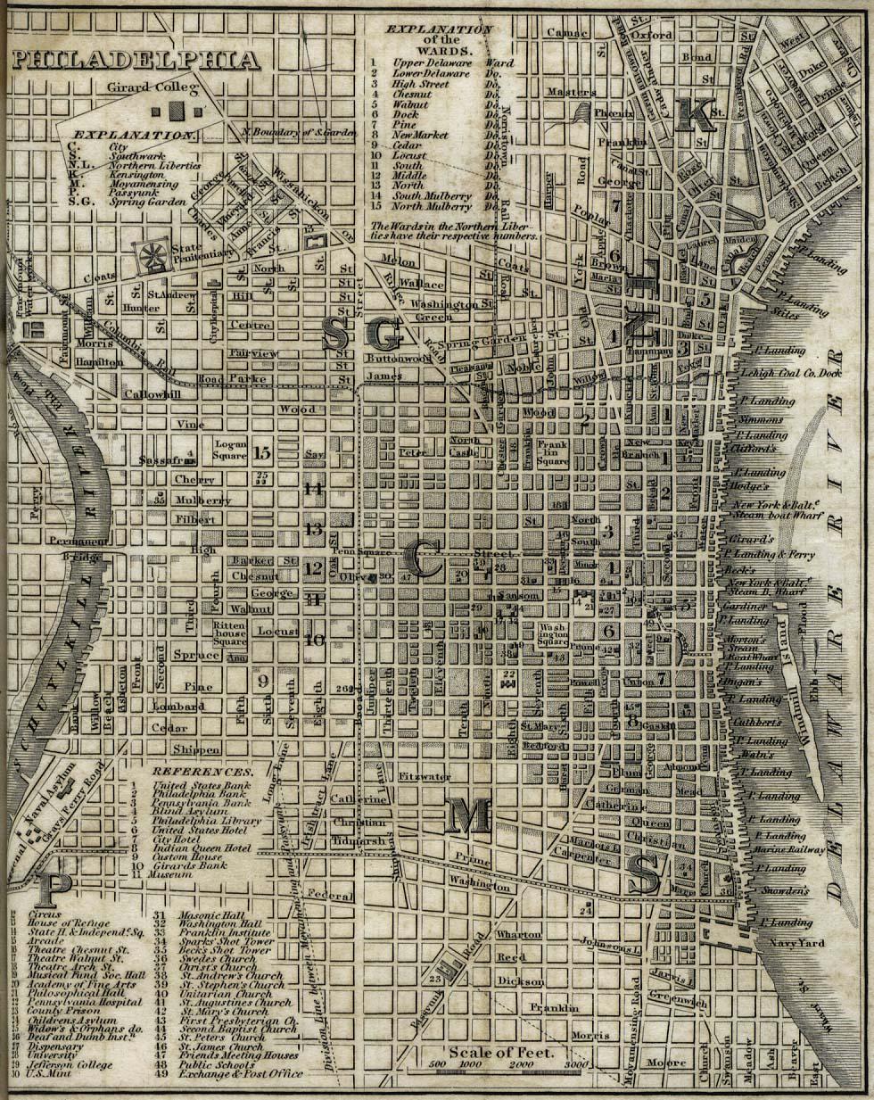 Mapa de la Ciudad de Filadelfia, Pensilvania, Estados Unidos 1842