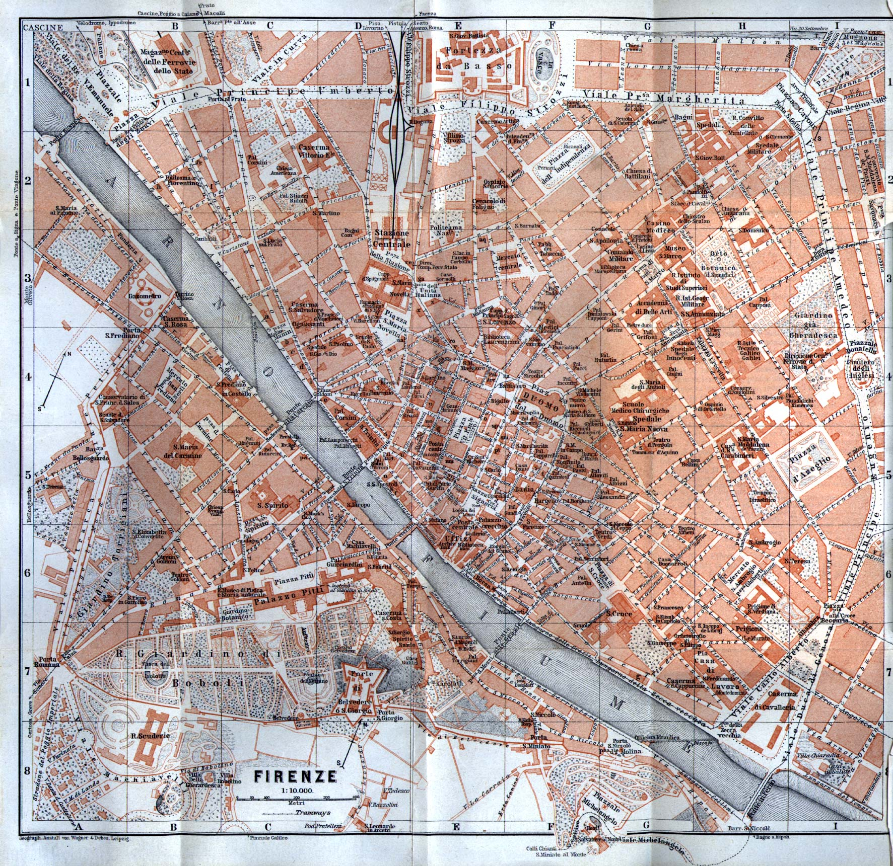 Firenze (Florence) City Map, Italy 1913