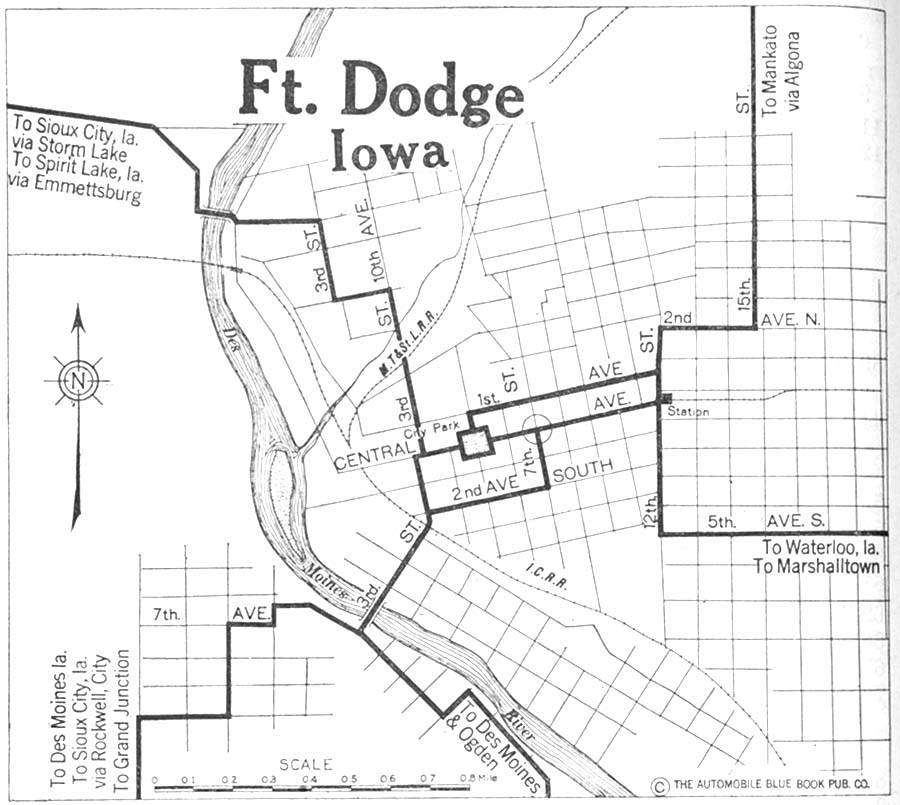 Fort Dodge City Map, Iowa, United States 1920