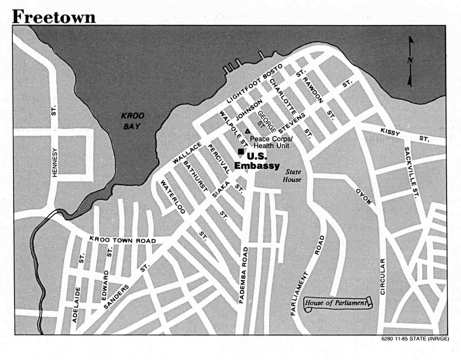 Mapa de la Ciudad de Freetown, Sierra Leona