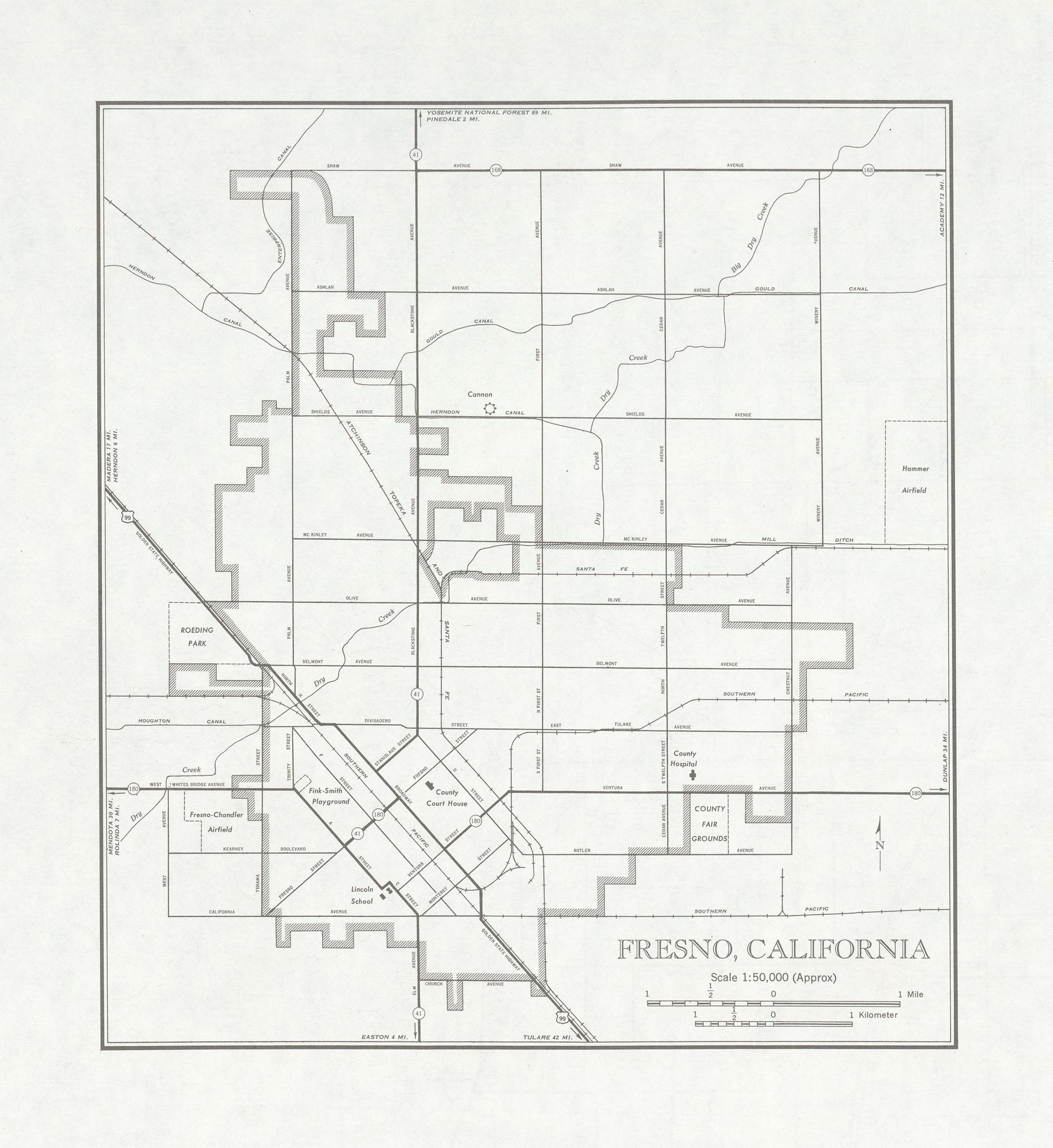 Fresno City Map, California, United States 1947