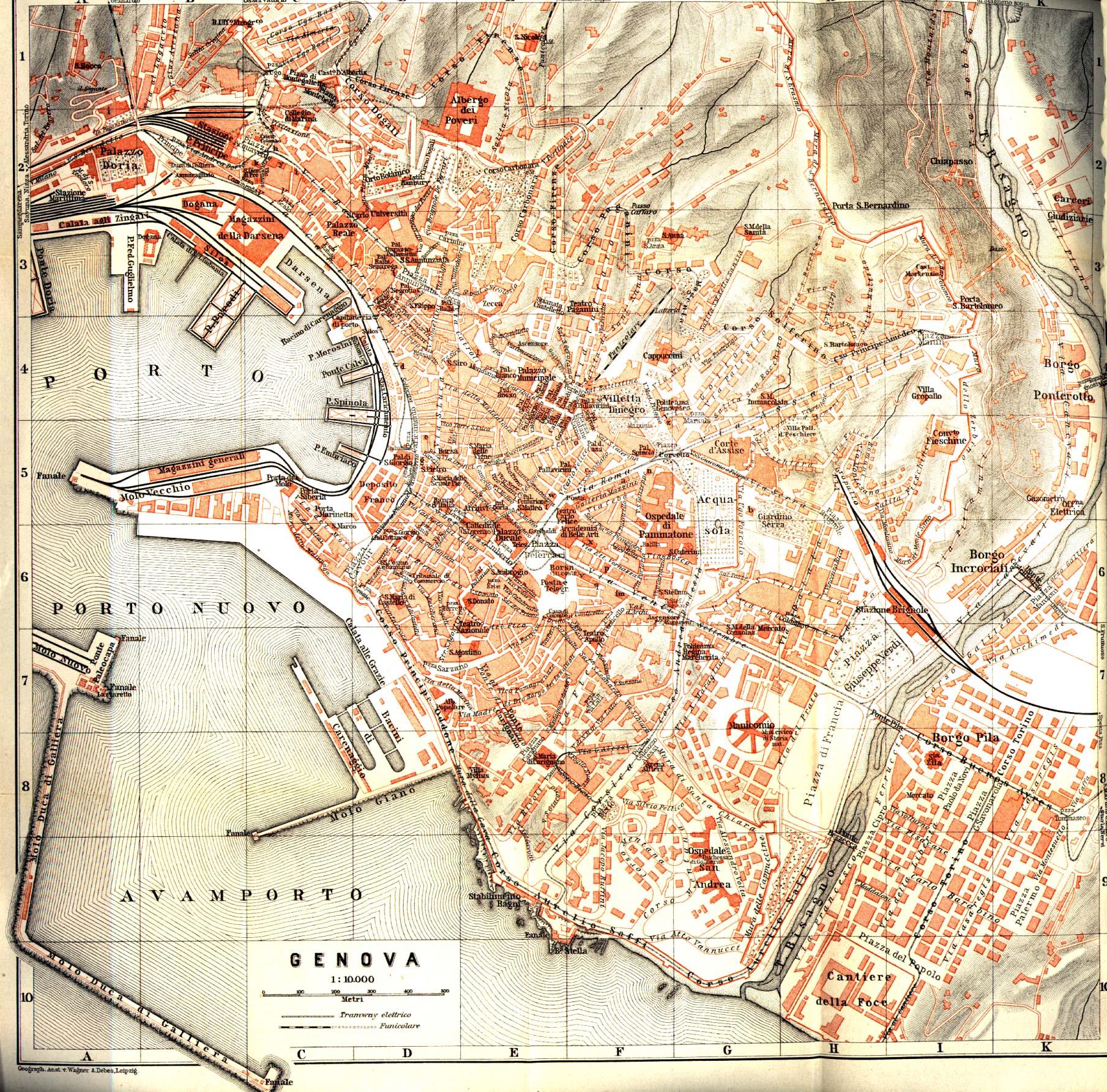 Genova (Genoa) City Map, Italy 1913