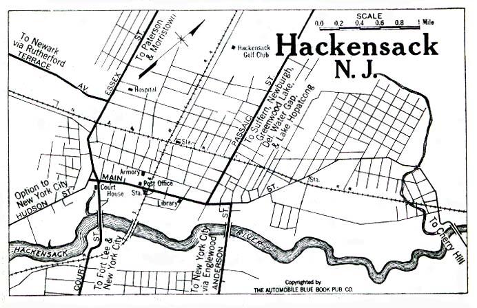 Mapa de la Ciudad de Hackensack, Nueva Jersey, Estados Unidos 1922