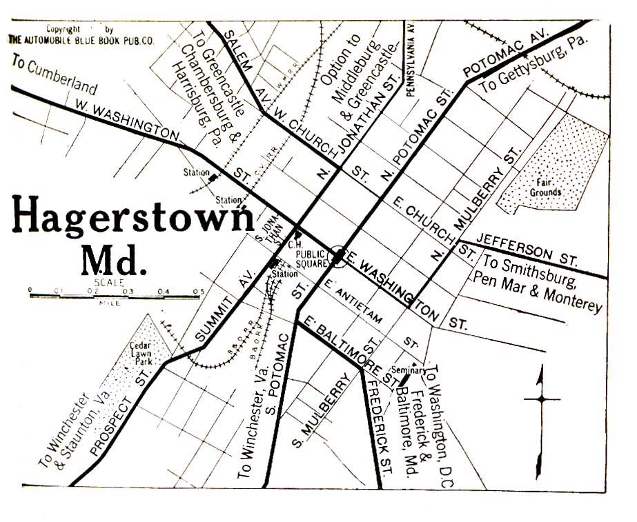 Mapa de la Ciudad de Hagerstown, Maryland, Estados Unidos 1920