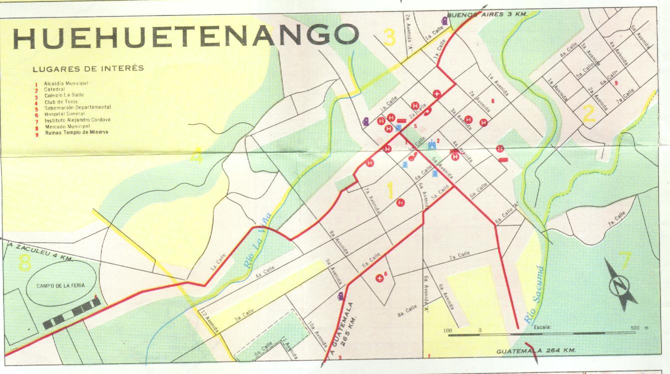 Mapa de la Ciudad de Huehuetenango, Guatemala