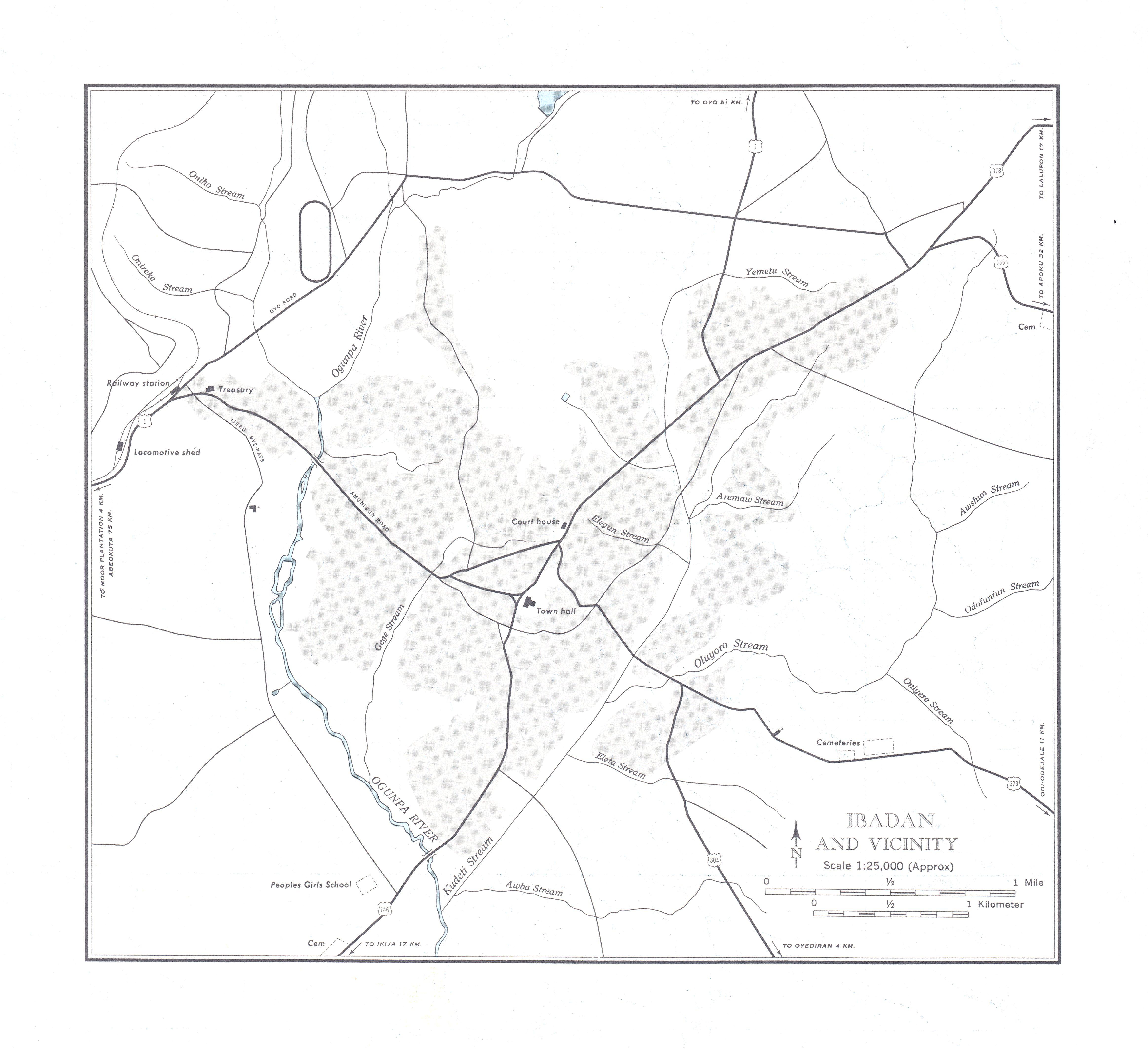 Mapa de la Ciudad de Ibadán y Cercanías, Nigeria 1955