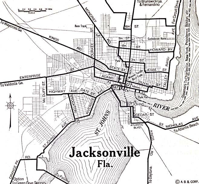 Mapa de la Ciudad de Jacksonville, Florida, Estados Unidos 1920