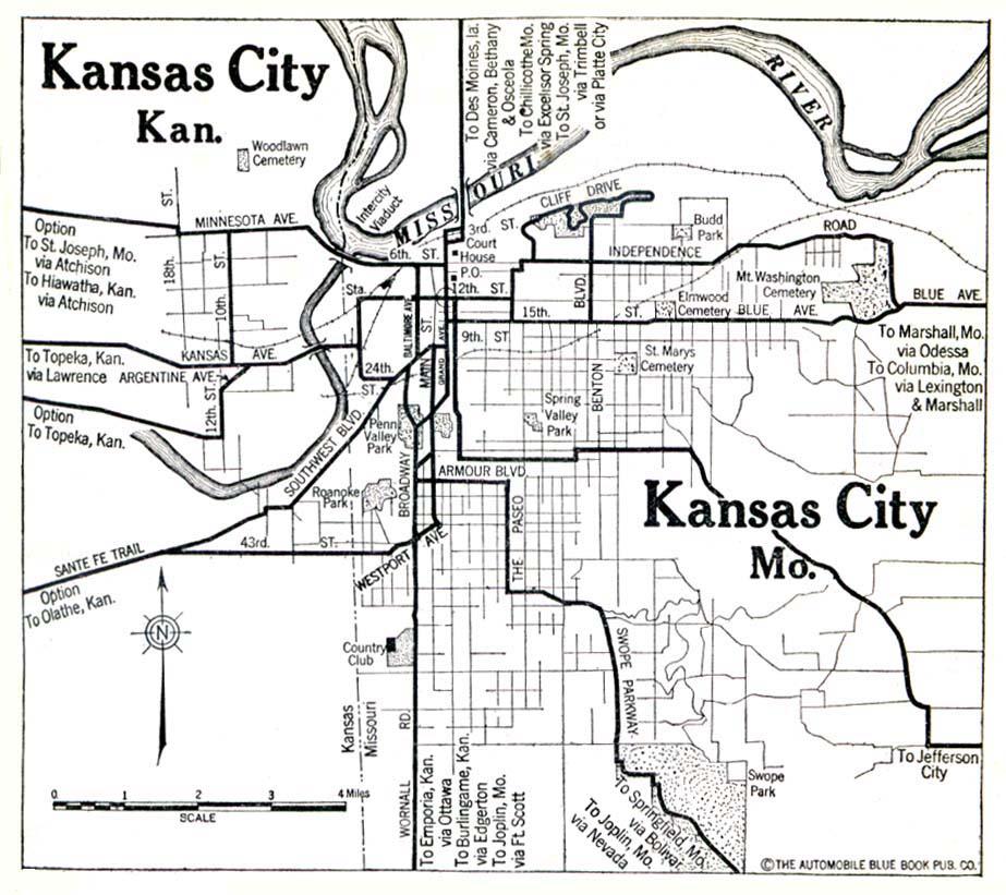 Mapa de la Ciudad de Kansas, Kansas y Missouri, Estados Unidos 1920