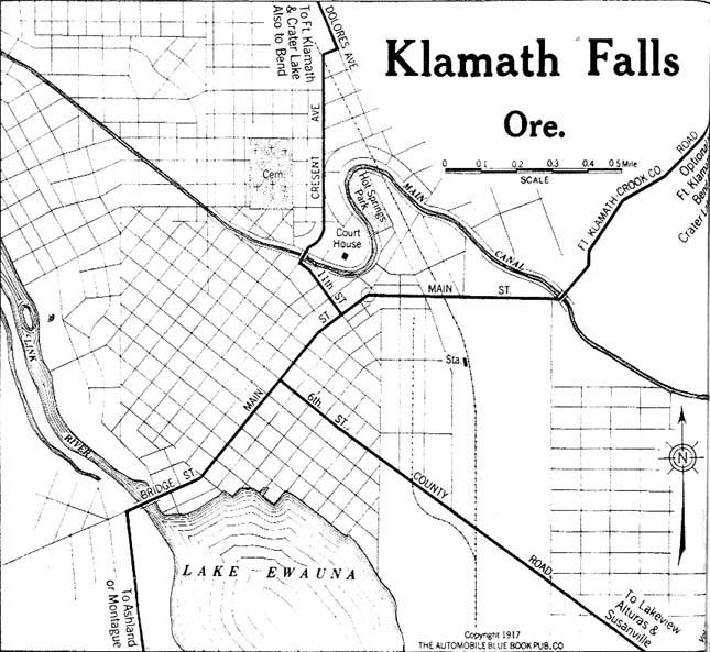 Mapa de la Ciudad de Klamath Falls, Oregón, Estados Unidos 1917