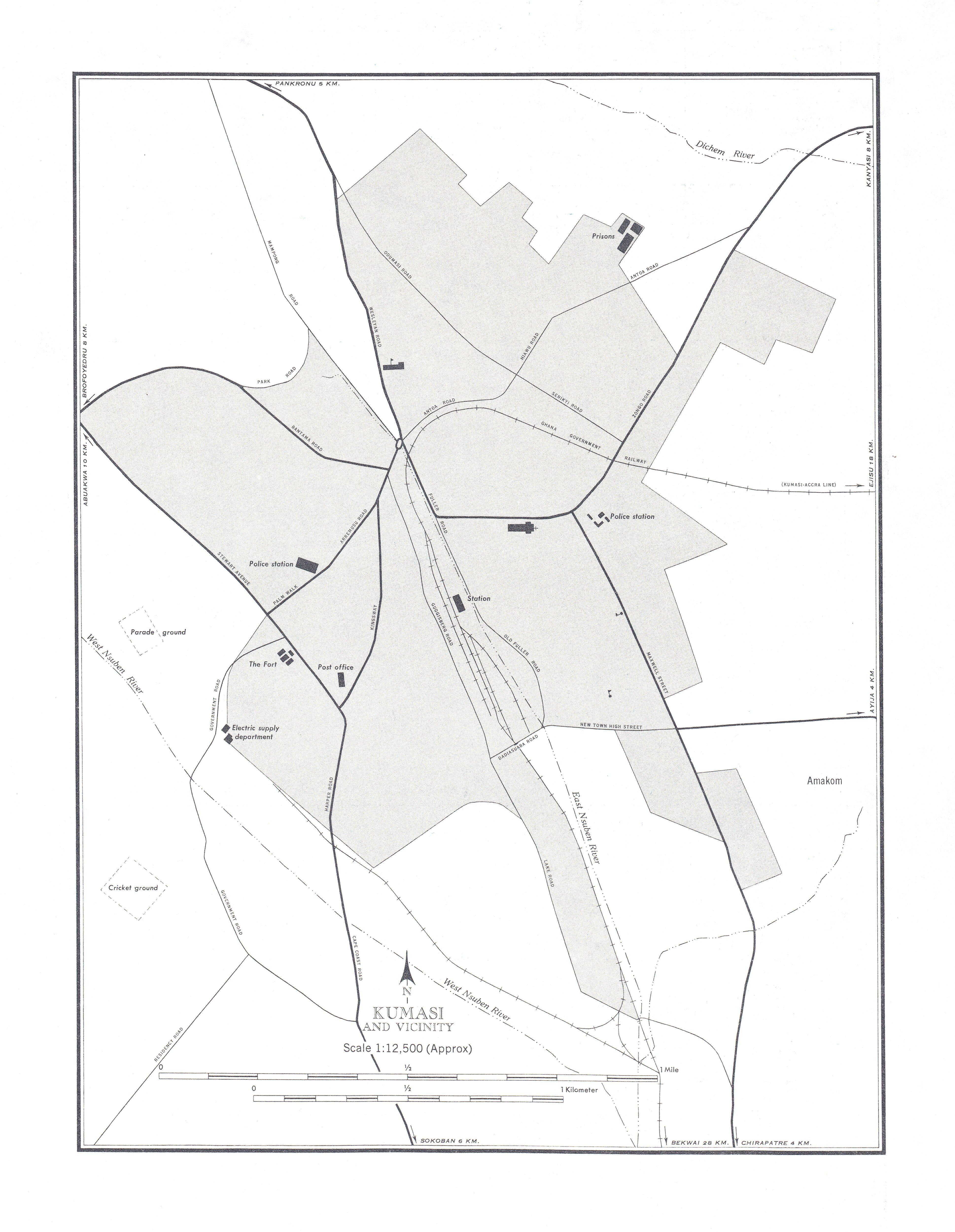 Mapa de la Ciudad de Kumasi y Cercanías, Ghana 1955