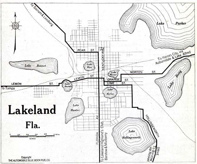 Lakeland City Map, Florida, United States 1919