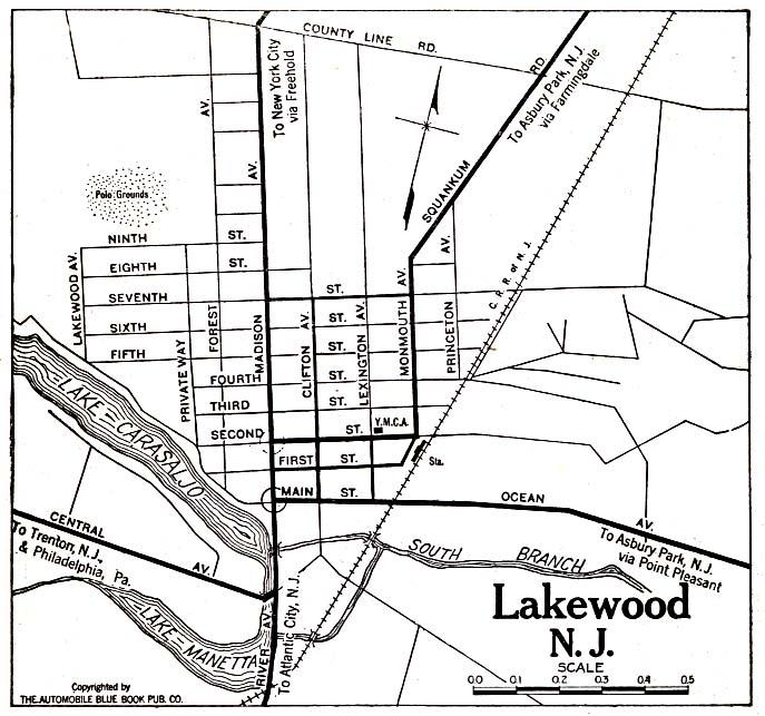 Mapa de la Ciudad de Lakewood, Nueva Jersey, Estados Unidos 1920
