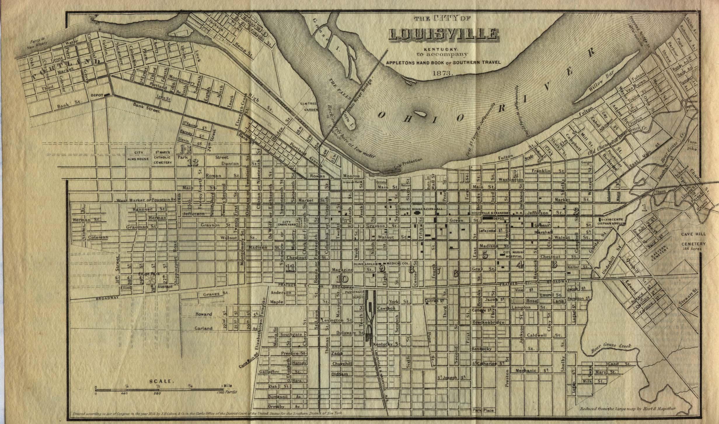Mapa de la Ciudad de Louisville, Kentucky, Estados Unidos 1855