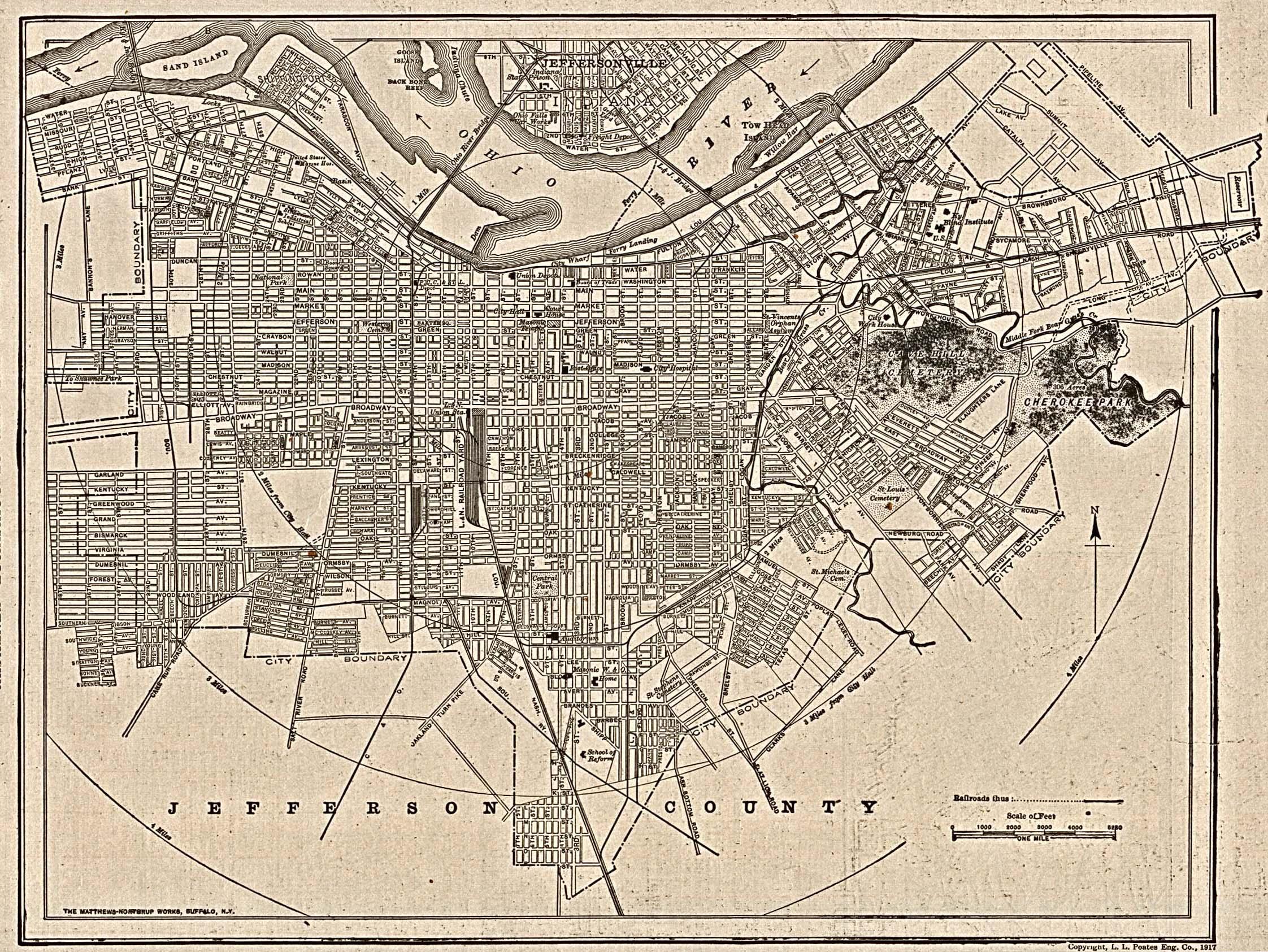 Mapa de la Ciudad de Louisville, Kentucky, Estados Unidos 1917