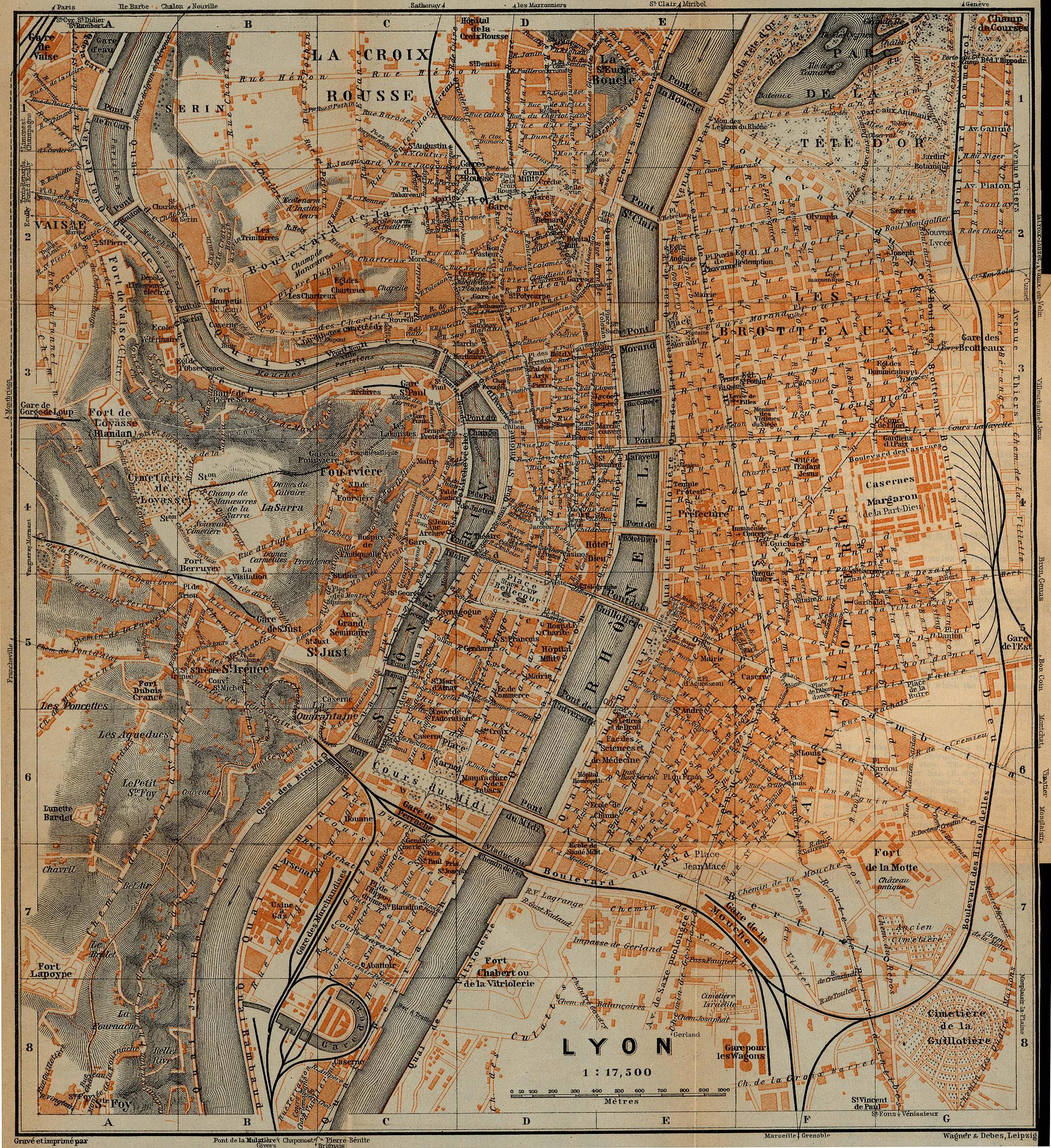 Mapa de la Ciudad de Lyon, Francia 1914
