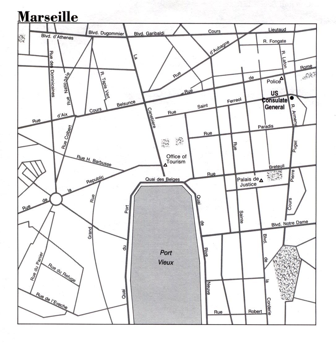 Mapa de la Ciudad de Marsella, Francia
